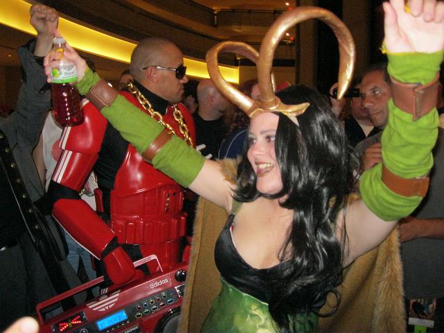 Loki getting down on the lobby dance floor